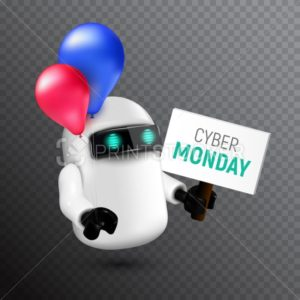 Funny and cute flying robot with red and blue balloons holding a sign in his hand - PrintStocker.com