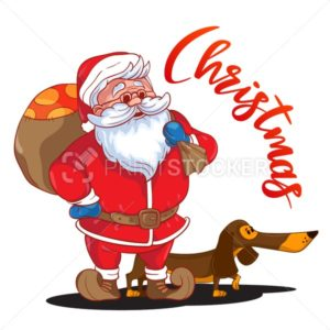 Funny cartoon Santa Claus with sack of presents on his back and brown Dachshund – symbol of the year - PrintStocker.com