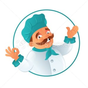 Funny smiling fat mustachioed cook chef in the blue chef's hat round frame. Cartoon vector illustration isolated on white background - PrintStocker.com