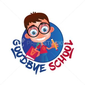 Goodbye School vector illustration isolated on white background. Funny geek or nerdy boy with big glasses and alphabet book holding a pencil - PrintStocker.com