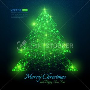 Green polygonal Christmas tree with flares for Merry christmas and happy new year 2018 with texture of starry sky or space universe - PrintStocker.com
