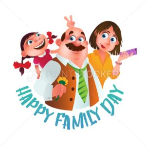 Greeting card or poster to Happy Family Day. Vector illustration of father, mother and dughter isolated on white background - PrintStocker.com