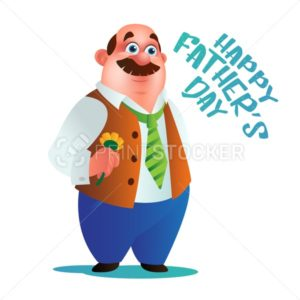 Greeting card or poster to Happy Father's Day. Vector Dad stands with flower and green tie isolated on white background - PrintStocker.com