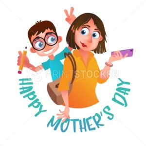 Greeting card or poster to Happy Mother's Day. Mom with phone holding on the back her son. Vector illustration isolated on white - PrintStocker.com