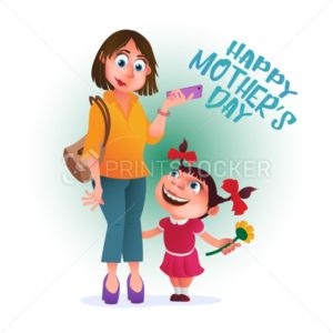 Greeting card or poster to Happy Mother's Day. Mom with phone stands with her daughter. Vector illustration isolated on white - PrintStocker.com