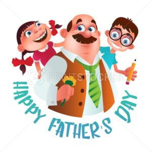 Greeting card to Happy Father's Day. Dad with flower holding on the back his son and daughter. Vector illustration isolated on white - PrintStocker.com
