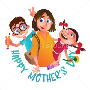Greeting card to Happy Mother's Day. Mom with phone holding on the back her son and daughter. Vector illustration isolated on white - PrintStocker.com