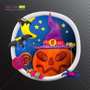 Handmade vector Plasticine round greeting card for Halloween - PrintStocker.com