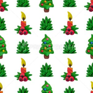 Handmade vector Plasticine seamless pattern for Christmas and Happy New year isolated on white background - PrintStocker.com