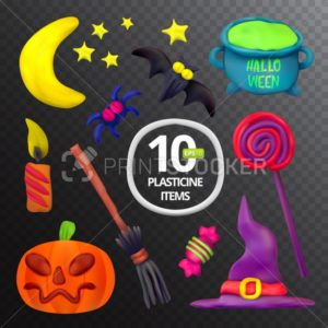 Handmade vector Plasticine set for Halloween - PrintStocker.com