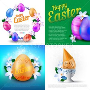 Happy Easter holidays vector set of greeting cards, posters or banners with colour painted eggs and spring flowers - PrintStocker.com