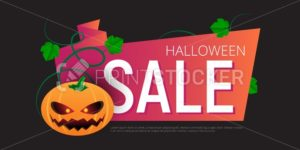 Happy Halloween Sale vector banner or sticker design template with leaves and pumpkin - PrintStocker.com