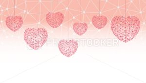 Happy Valentines day greeting card or banner witn hearts consisting of polygons and dots - PrintStocker.com