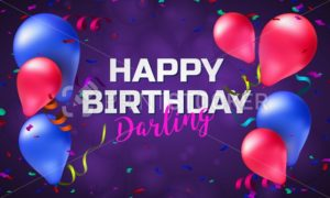 Happy birthday greeting card or banner with colorful balloons, confetti and place for your text - PrintStocker.com