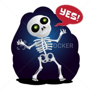Happy cartoon skeleton raises his hands in the air - PrintStocker.com