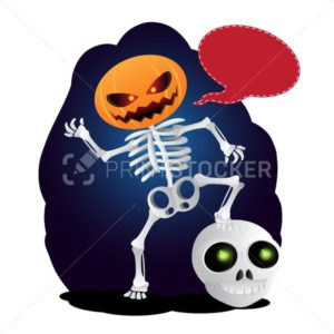 Happy cartoon skeleton with pumpkin instead of his head and speach bubble - PrintStocker.com