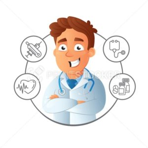 Happy smiling male young online assistance and doctor with crossed arms and medical service icons around - PrintStocker.com