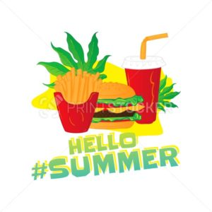 Hello summer popular hashtag. Fast food vector sticker with leaf – french fries, lemonade, hamburger isolated on white background - PrintStocker.com