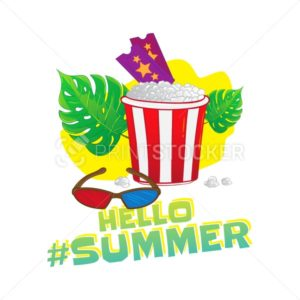 Hello summer popular hashtag. Fast food vector sticker with leaf – ticket, 3d glasses, popcorn isolated on white background - PrintStocker.com