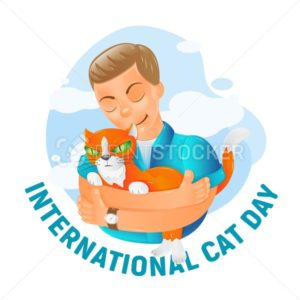 International world cat day vector illustration with cute cartoon flat red cat friendship  hugs isolated on white background. Great for advertising poster, banner, postcard and greeting card design - PrintStocker.com