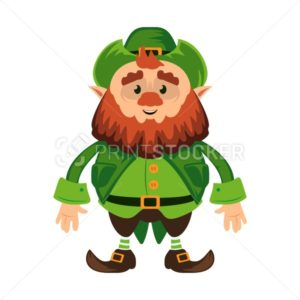 Leprechaun cartoon character or funny green dwarf vector illustration for Saint Patrick Day 17 march traditional Irish folklore Celtic mythology culture staying with hat - PrintStocker.com