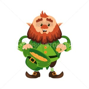 Leprechaun cartoon character or funny green dwarf vector illustration for Saint Patrick Day 17 march traditional Irish folklore Celtic mythology culture with golden coins in hat - PrintStocker.com