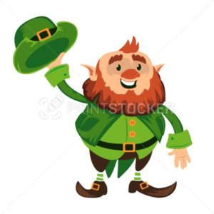 Leprechaun cartoon character or funny green dwarf vector illustration for Saint Patrick Day 17 march traditional Irish folklore Celtic mythology culture with hat - PrintStocker.com