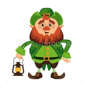 Leprechaun cartoon character or funny green dwarf vector illustration for Saint Patrick Day 17 march traditional Irish folklore Celtic mythology culture with hat and lantern - PrintStocker.com