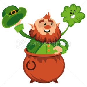 Leprechaun cartoon character or funny green dwarf vector illustration for Saint Patrick Day 17 march traditional Irish folklore Celtic mythology culture with hat pot and shamrock - PrintStocker.com
