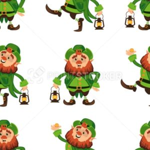 Leprechaun cartoon character seamless vector pattern for Saint Patrick Day in different poses Funny dwarf emoji variations Irish folklore mythology on white background Great for textile or print cover - PrintStocker.com
