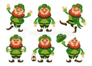 Leprechaun cartoon character vector set for Saint Patrick Day in different poses Funny dwarf emoji variations traditional Irish folklore Celtic mythology with hat and lantern - PrintStocker.com
