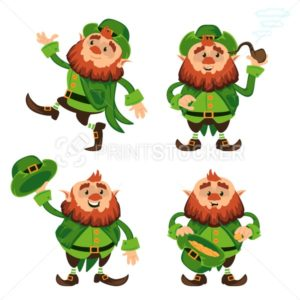 Leprechaun cartoon character vector set for Saint Patrick Day in different poses Funny dwarf emoji variations traditional Irish folklore Celtic mythology with hat and pipe - PrintStocker.com
