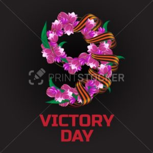May 9 Victory Day russian national holiday greeting card or banner with ribbon of Saint George and number nine consisting of pink and red tulip flowers vector illustration isolated on black background - PrintStocker.com