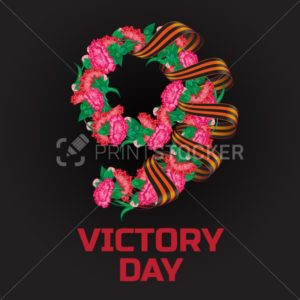 May 9 Victory Day russian national holiday greeting card or banner with ribbon of Saint George and number nine consisting of red carnation flowers vector illustration isolated on black background - PrintStocker.com