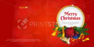 Merry Christmas greeting card or postcard with holiday decoration and place for text - PrintStocker.com