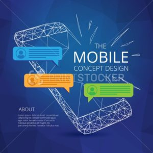 Mobile phone concept design with incoming messages in triangular modern style. Smartphone vector illustration - PrintStocker.com