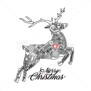 Outline black silhouette of jumping forest or northern deer isolated on white background and filled with decorative pattern with sign Merry Christmas - PrintStocker.com