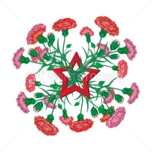 Red carnation bouquet with Saint George ribbon and soviet star to 9 May Victory Day Russian national holiday celebration greeting card or banner with vector flowers illustration isolated on white - PrintStocker.com