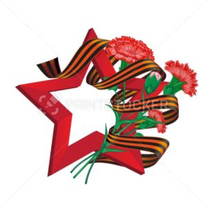 Red soviet star with carnation bouquet and Saint George ribbon to 9 May Victory Day Russian national holiday celebration greeting card or banner with vector flowers illustration isolated on white - PrintStocker.com