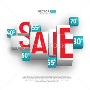 Sale poster or banner with cubes and percents on white background - PrintStocker.com