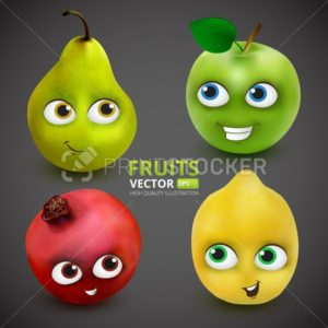 Set of Funny and cute cartoon fruits on dark grey background: Lemon, apple, pear, pomegranate. Vector illustration with mascot characters - PrintStocker.com