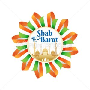 Shab e-Barat emblem or sign with indian flag or ribbon and mosque. Religious culture Muslims holiday. Isolated on white - PrintStocker.com