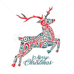 Silhouette of jumping forest or northern deer isolated on white background and filled with decorative pattern with sign Merry Christmas - PrintStocker.com
