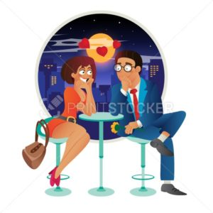 Speed dating romantic love event in cafe – young business woman and man couple on a date, talking, meeting, flirt and fall in love - PrintStocker.com