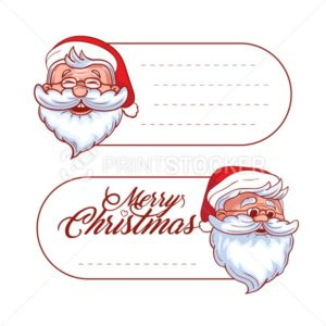 Vector Christmas and holidays hang tag labels or stickers with santa claus and place for your text - PrintStocker.com