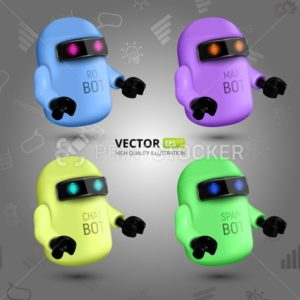 Vector Set With Four Colorful Chat Bots, The Concept Of Virtual Assistant For UI, Mobile Application Or Website Design - PrintStocker.com