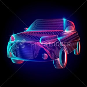 Vector car or automobile vehicle contour silhouette with abstract 3d shapes geometry lines texture and outline gradient waves vintage modern trendy art graphic design illustration on dark background - PrintStocker.com