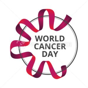 Vector illustration to 4 February – World Cancer Day with awareness red ribbon isolated on white background - PrintStocker.com