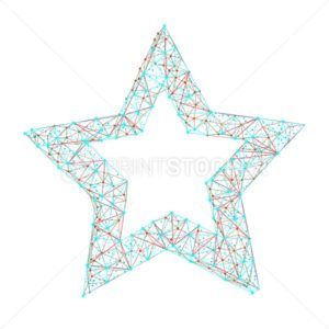 Vector polygonal abstract image of star consisting of dots, points and lines isolated on white background - PrintStocker.com