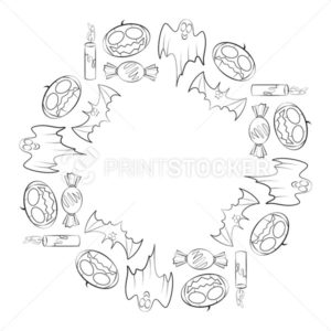 Vector round frame for Halloween holiday consisting of contour candles, candys, bats, ghosts and pumpkins - PrintStocker.com